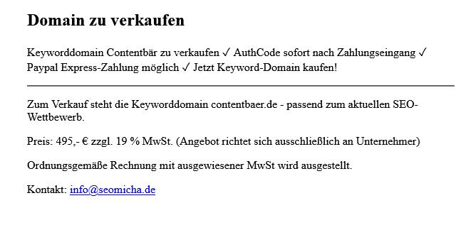 contentbaer.de steht zum Verkauf